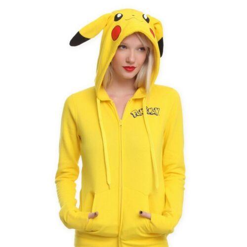 Pokemon Anime Jacket  Pikachu Cosplay Ears Face Tail Zip Hoody Sweatshirt Hoodie