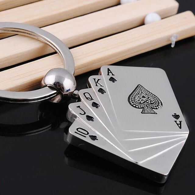 Hot Sale Creative Funny Car Ring Poker Metal Keychain Gift