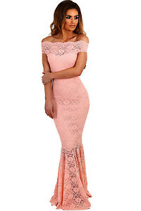 Stunning-Off-Shoulder-Pink-Lace-Fishtail-Mermaid-Maxi-Dress-8-10-12-14-16-UK