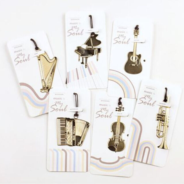1PCGold Plated Musical Instrument Vintage Cute Bookmark Book Mark SEJO