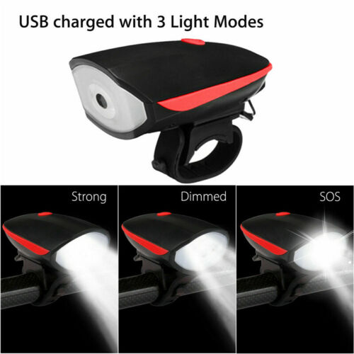 Bicycle Headlight Bike Tail Light Cycling Horn USB LED Rechargeable Front Lamp