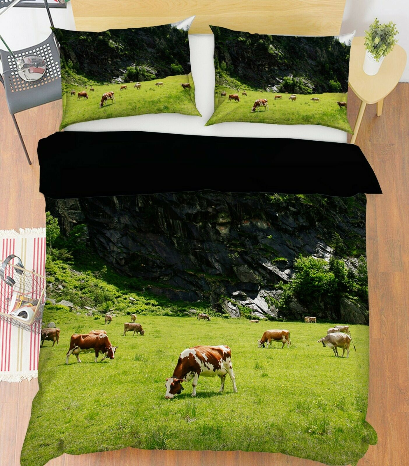 3D Farm Cow R120 Animal Bed Pillowcases Quilt Duvet Cover Queen King Zoe
