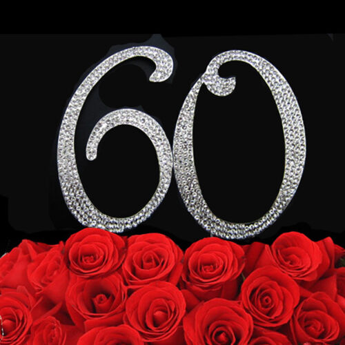 60th Birthday Number Cake Topper Bling Clear Rhinestone Crystal Diamante Silver