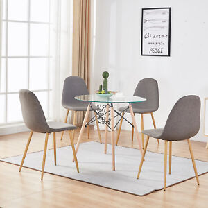 Details About Round Glass Table,Dining Table,4 Side Chairs,5 Pieces Dining  Tabel Set