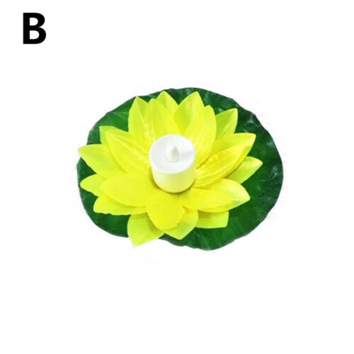 Outdoor Floating Lotus Light Pool Garden Water Flower LED Lamp Lights Candle AU