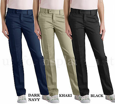 Dickies Pants Womens Junior Slim Fit Stretch Khaki 4 Pocket Bootcut Pant HH201