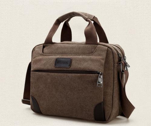 Men/'s Vintage Canvas Leather Satchel School Military Shoulder Bag Messenger UK