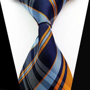 New-Classic-Blue-Orange-Check-Tie-Woven-Jacquard-Silk-Men-039-s-Suits-Ties-Necktie
