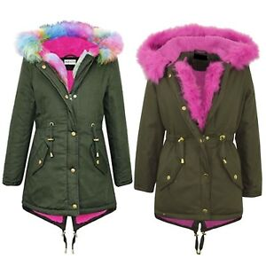 Trim Jackets Fishtail Jacket Ladies Fur Pink Coat Rainbow Kvinders Parka Hooded FxSvqYwwp