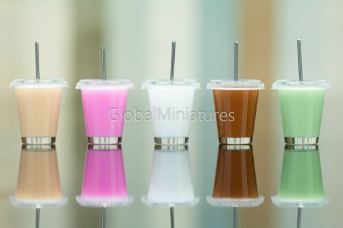 Dollhouse Miniatures Set of Clear Plastic Coffee Glass of Colorful Milk Shake