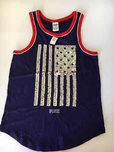 bc5b1ed631b7a Details about Nwt Victorias Secret PINK Sequin Bling Flag Americana Muscle  Tank Top S