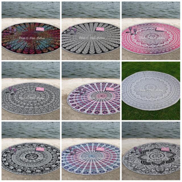 Round Mandala Tapestry Throw Hippie Gypsy Blanket Yoga Mat Bohemian Beach Shawl