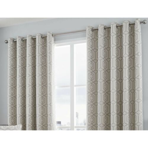 Куртина-Камберуэлл серебристо-геометрических жаккард с петелькой штор и подушки