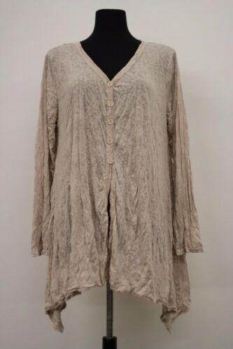 PRODUCE COMPANY SEMI-SHEER COTTON CRINKLED ASYM BUTTONED CARDIGAN BEIGE LARGE