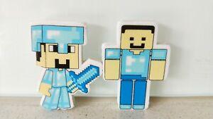 Minecraft-Set-of-2-Diamond-Steve-amp-Steve-Easer-Rubber-Stationery-Brand-NEW