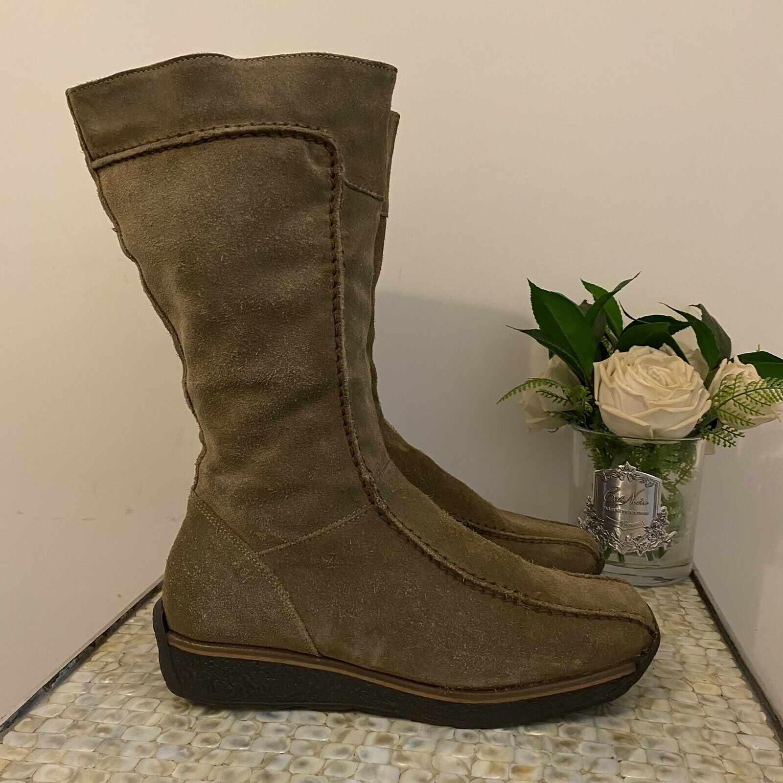 Aldo UK 6 39 brown suede flat ankle causal boots boho zip side comfy winter VGC