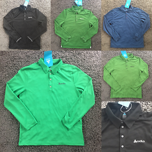 ODLO-Mens-Adult-Golf-Sports-Polo-Tee-T-Shirt-Tshirt-Long-Sleeve-Button-Collar