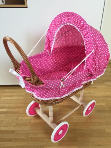 Babypuppen & Zubehör Puppen & Zubehör Puppenwagen Holz Korb Weide Stubenwagen  Korbwagen mit Kissen und Decke Top !