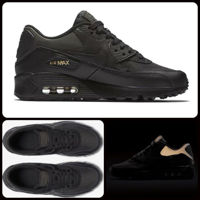 brand new 75156 a8e1c R88 Nike Air Max 90 Premium GS Sz UK 4.5 EU 37.5 AH9345-001 Black