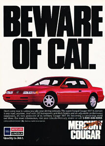 1990-Mercury-Cougar-XR7-beware-of-cat-Vintage-Advertisement-Ad-A20-B