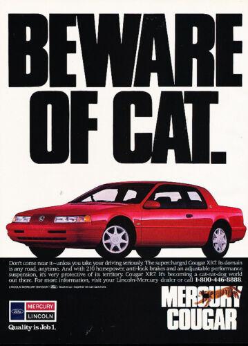 beware of cat 1990 Mercury Cougar XR7 Vintage Advertisement Ad A20-B