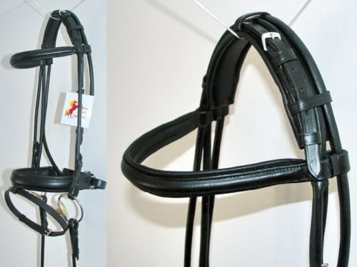 FSS German BLACK Padded ROLLED Leather Comfort Poll Crank Dressage Bridle Reins