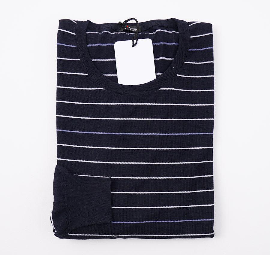 NWT 1395 KITON Navy Striped Fine-Gauge Cotton-Silk Sweater L (Eu 52) Slim-Fit