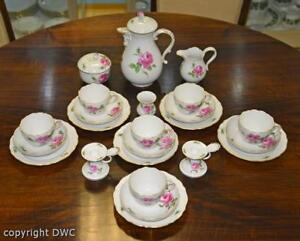 Kaffees-Service-18-tlg-Meissen-Dekor-rote-Rose-Porzellan-Marke-Tassen-Kanne