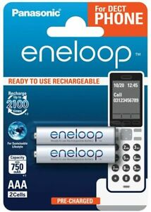 2 Panasonic eneloop AAA 750 mAh Rechargeable Batteries NiMH Fast & Free Delivery