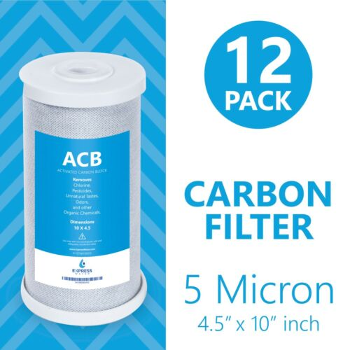 """Whole House Big Blue Carbon Block Water Filter 5 Micron Coconut 4.5/"""" x 10/"""" 12PK"""