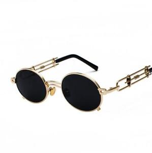 Men-Steampunk-Gothic-Sunglasses-Round-Metal-Vintage-Coating-Mirror-Women-UV400