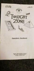 Bally Twilight Zone Operators Handbook original
