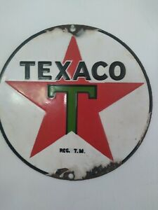 """8"""" PORCELAIN TEXACO SIGN PUMP PLATE LUBESTER 100% AUTHENTIC REAL DEAL NICE"""