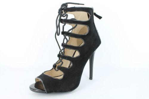 * vente * Anne Michelle L3422 Femmes Noir Talon Aiguille Effet Daim Chaussures
