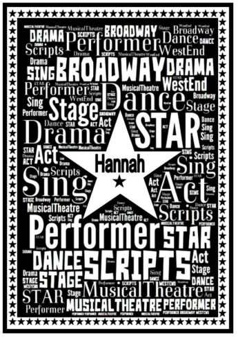 Personalised Musical Theatre Gift Word Art Notepad Notebook Acting Drama Stage