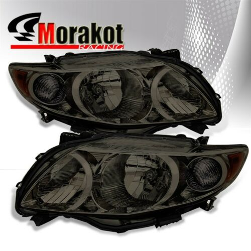 For 09-10 Toyota Corolla Replacement Smoke Headlights Amber Reflector Lamps