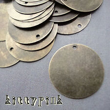 25 Round Antique Bronze 20mm Blank Stamping Tag Bail Pendants