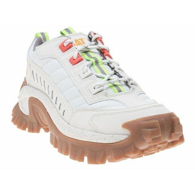 New hommes Caterpillar blanc Intruder Originals Cuir Baskets à semelle compensée lacets