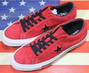 CONVERSE-One-Star-OX-Low-SAMPLE-Vintage-Red-Black-Suede-Shoes-163246C-Men-039-s-9