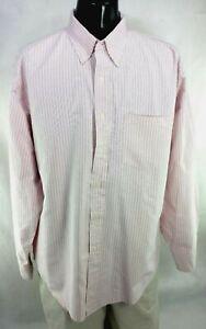 IZOD-Mens-Sz-XL-Striped-Long-Sleeve-Button-Down-Shirt-100-Cotton-Pink-White