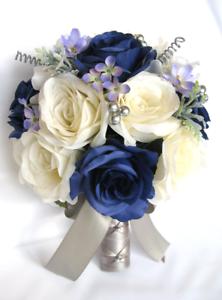Wedding Bouquets 17 piece Silk Flower Bridal package NAVY blue CREAM ...