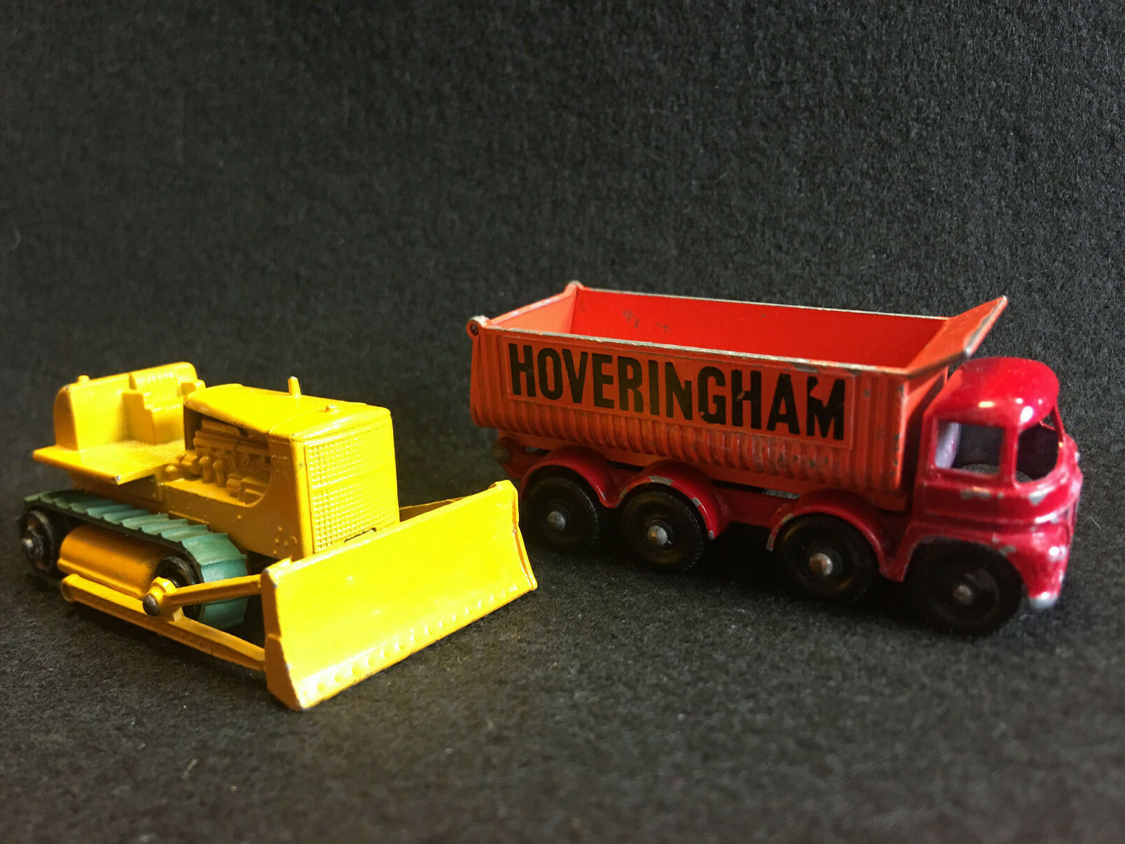 Vtg Lesney Hoveringham Tipper & Matchbox Caterpillar Bulldozer