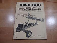 Bush Hog Log Splitter Operators Manual Parts Catalog Gas And Tractor Powered