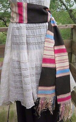 Vtg Wide Fringe Sash Dress Belt Scarf Satin Rayon Rainbow Stripe 1930's Vagabond