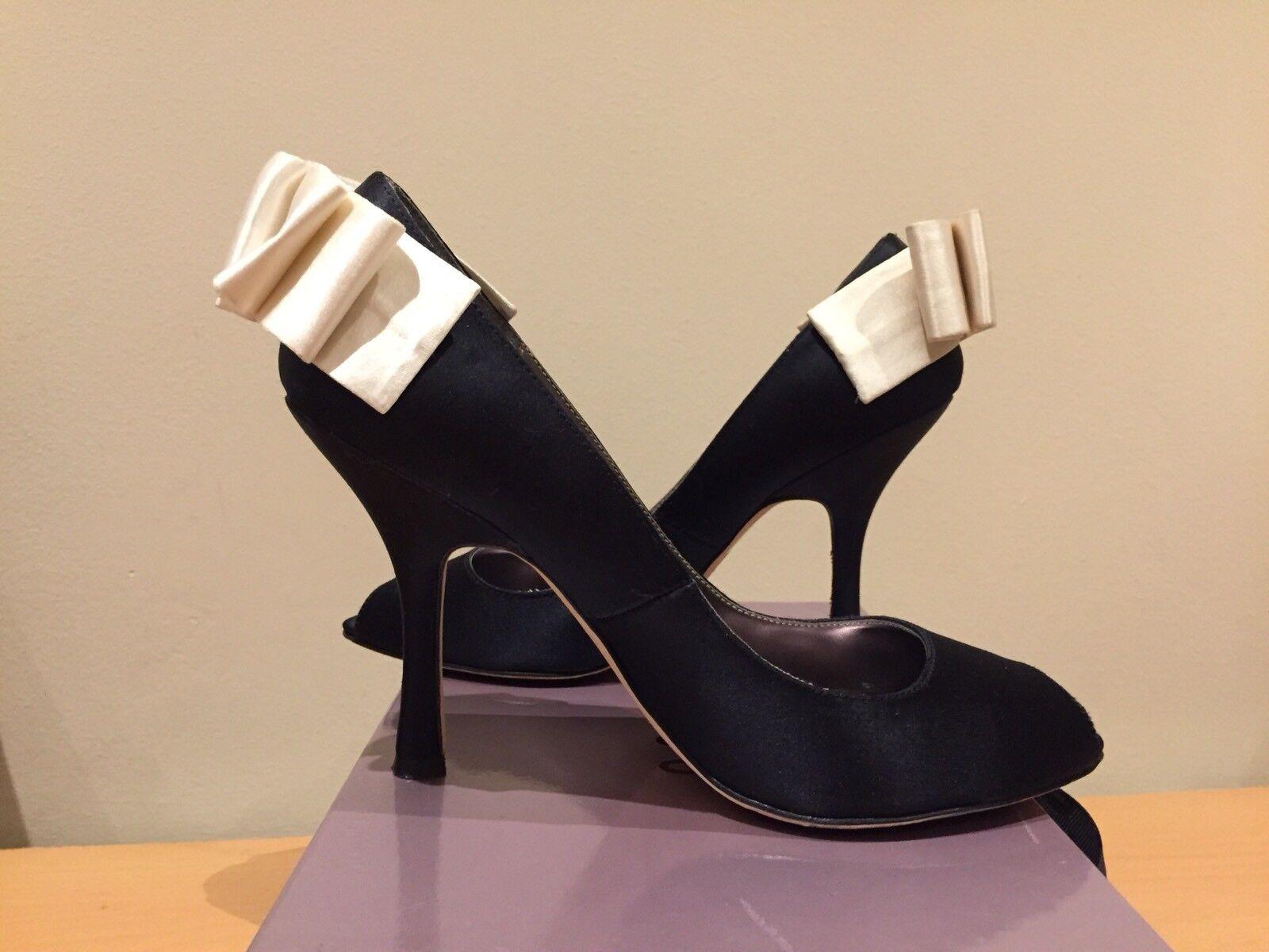 Coast Black Silk And Cream Bow Heels, 39, Uk 6 Party, Wedding Guest, Cruise, Fab