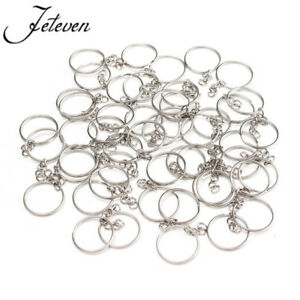 50Pcs Metal Polished Keyring Keychain Key Hoop Loop Rings W/Link For DIY Craft