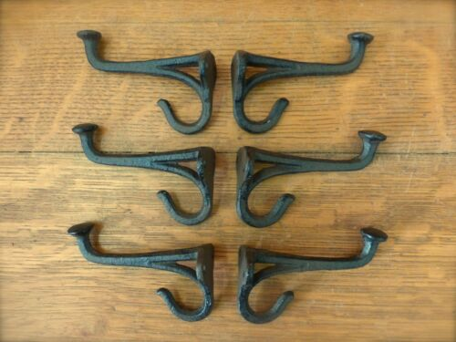 """6 BROWN BLACKSMITH STYLE WALL HOOKS RUSTIC ANTIQUE LOOK CAST IRON 4/"""" hardware"""