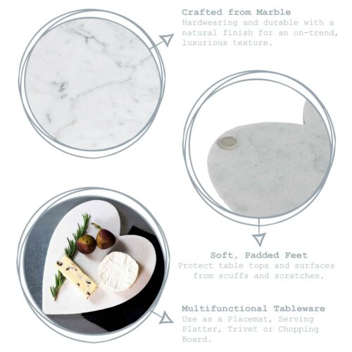 Heart Polished Marble Food Chopping Cutting Board Worktop Protector