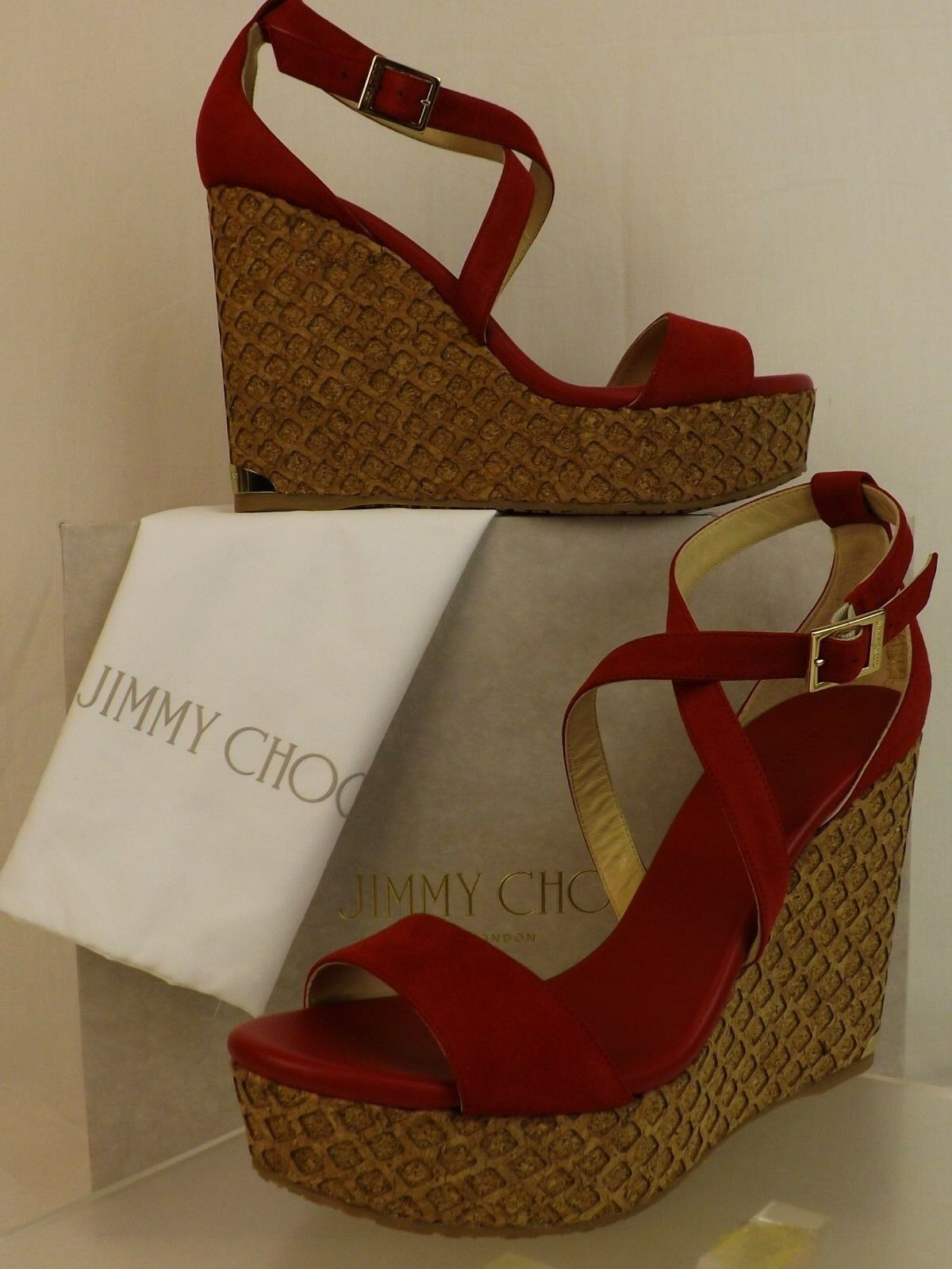 NIB JIMMY CHOO PORTIA 120 rot SUEDE PLATFORM LASERCUT CORK WEDGE SANDALS 42