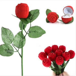 1pc Red Rose Flower Velvet Jewelry Storage Box Engagement Ring Display Case U